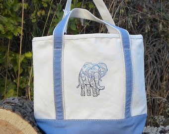 Canvas Tote Bag With Embroidered Elephant Design