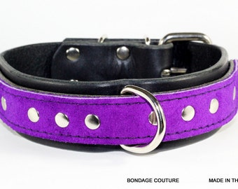 Black and Purple BDSM leather collar, Purple Suede BDSM collar, Black leather collar with purple accent, BDSM leather collar