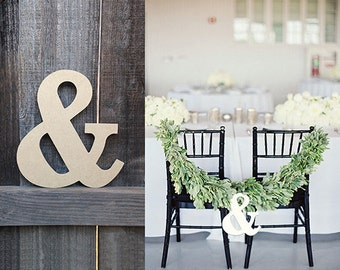 Wood Ampersand Decor, Shabby Chic Ampersand, Rustic Wood Ampersand, Custom Color Ampersand, Wedding Ampersand
