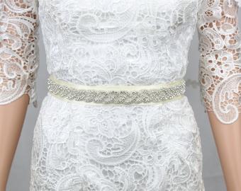 Wedding Belt, Rhinestone Wedding Belt, Wedding Dress Sash , Rhinestone Sash, Ivory
