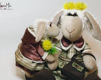 Stuffed Animal handmade teddy bear plush stuffed animal Lamb and Sheep set of 2 plushie soft toy