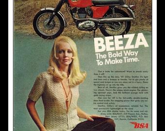 "Vintage Print Ad May 1969 : BSA Beeza Motorcycle Sexy Girl Wall Art Decor 8.5"" x 11"" Advertisement"