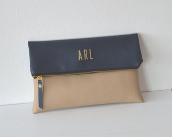 Navy Blue / Beige Personalized Clutch, Bridesmaid Gift