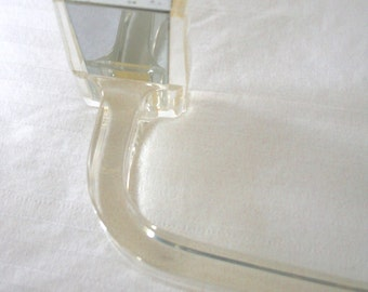 Vintage acrylic towel rod   clear lucite with chrome accents   bathroom accessory