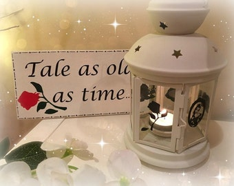 Beauty and the beast Inspired Lantern PLUS wooden hanging Sign, Tea light Holder,  Lantern, Candle Glow,Wooden Sign, Gift set