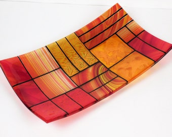 """A rectangular fused glass plate """"A Gentle color mix - Oranges""""; Decorative Plate; professional quality; food safe"""