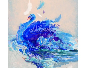 "Blue swan - Limited Edition of 45 copies digital print on fine art paper, swan modern painting in blue, grey, violet size: 50x70 cm (20x28"")"