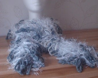 Hand Woven Loopy Scarf or Boa Grey, White, Blue Fluffy