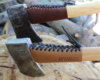 Reclaimed Leather Axe & Hatchet Handle Guard with 550 Paracord - Collar Guard - small hatchets to large axes - NWAL#0003