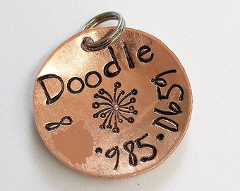"Small Dog Tag - Cat Tag - Hand Stamped Pet ID Tag -  Copper, Brass OR Aluminum 3/4"" Round Collar Tag - Domed Custom Pet ID Tag"