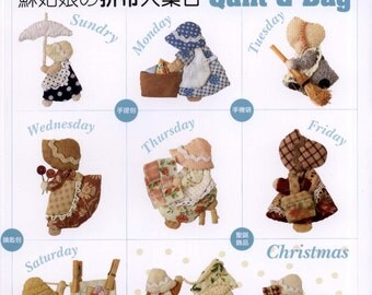 111 Patterns Sunbonnet Sue Quilt and Bag Japanese Book PDF Patchwork Hand Sewing Sunbonnet Sue Motif Quilt Bag, Instant download - Code 167