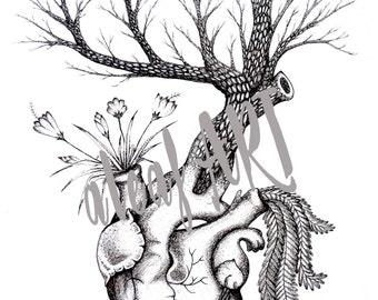 HEART TREE DRAWING Original Print