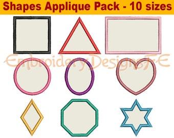 Shapes Applique Design - Set of 9 Shapes - Machine Embroidery Design File
