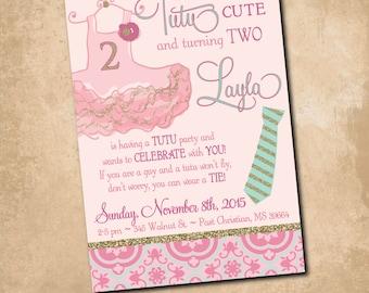Tutus and Ties Birthday Invitation printable/Tutu excited, tutu birthday invitation, gold and pink, girl birthday/Digital File
