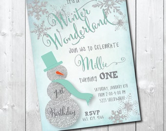"""Birthday Party Invitation..""""Winter Wonderland"""" with Silver Glitter Detail / DIGITAL FILE / printable/ wording, age & colors can be changed"""