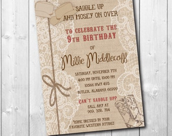 Western Birthday Invitation / DIGITAL FILE / printable / wording and colors can be changed