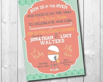 Couples Baby Shower Invitation/Bun in Oven Invitation printable/Digital File/Baby Q Invitation, cookout, bbq, beer/Wording can be changed