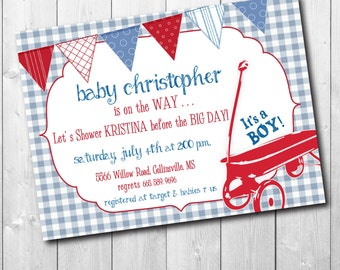 Red Wagon Baby Shower Invitation printable/Digital File/vintage red wagon, baby boy shower, boy wagon invitation/Wording can be changed