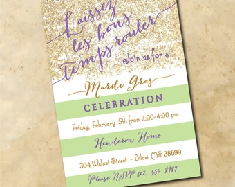 Mardi Gras Invitation with Gold Glitter detail /digital file or printing / printable / wording and ink colors can be changed