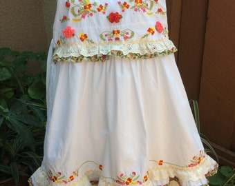 Girls White Sundress -In the Meadow-embroidered  Cotton Upcycle sz 6-10 Years