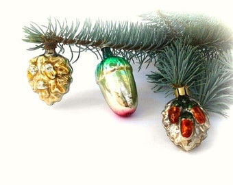 Set of 3 Vintage Soviet Glass Christmas tree decoration / Acorns / Christmas tree ornaments / Made in USSR, 50-60s