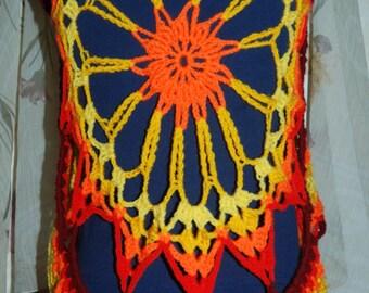 crochet sun-vest, pixie vest, sunrise colored