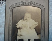 Antique Early 1900's Baby Photograph, Infant Fashions c 1910, Art Nouveau Stand Up Frame, Burdge Photography Ohio, Collectible Baby Photo ~