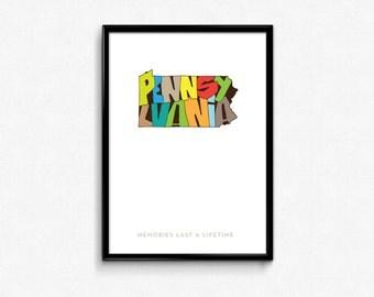 Pennsylvania Typography Map, Pennsylvania Printable, Pennsylvania Poster, Pennsylvania Print Art, Typography Poster, Digital Prints