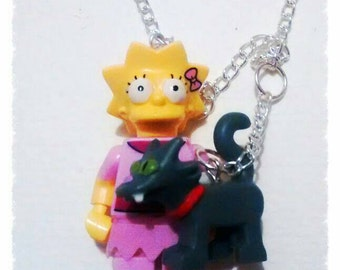 Lego mini figure Simpsons character Lisa and her cat on a nice chain necklace or keyrings or just the figures as a gift.