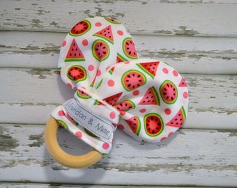 Watermelon on white Organic Maple Wooden Teether