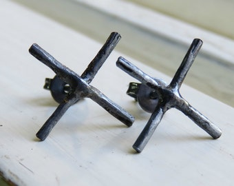 sterling silver stud earrings - cross earrings - silver post earrings - X Stud earrings - oxidized stud earrings