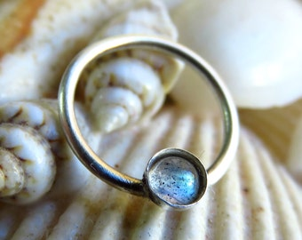 Labradorite Septum Ring. Nipple Piercing, septum ring 16g, nipple ring, Labradorite Septum Ring