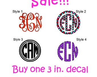 Sale! Buy One Get One Free Three Inch Decals/Stickers. Monograms. Personalize. Initials.