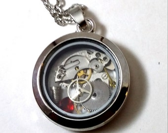 SALE, Steampunk Watch parts Floating Locket Necklace, Cogs Gears Necklace, Living Locket, Industrial, Steampunk, Cogs, Gears, Necklace,Watch