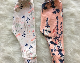 Flower leggings // baby girl leggings // baby boy leggings // baby leggings // newborn leggings