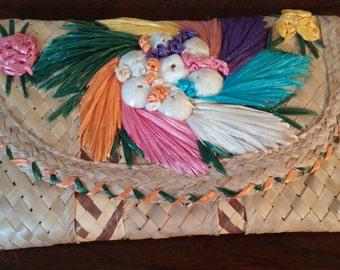 Vintage colorful straw clutch purse, Vintage straw purse, Mid century handbag