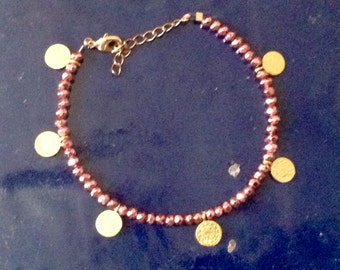 Pink pyrite bracelet and gold-plated coins