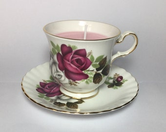 Tea Cup Candle. Vintage China Tea Cup and Saucer.  Rose scented soy wax candle. Royal Imperial Bone China.