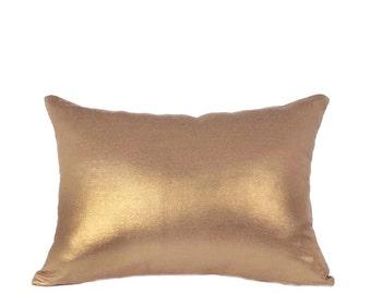 """12""""x16"""" Pillow Cover, Gold Metallic Linen"""
