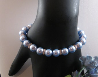 Kari Bracelet. Baby blue glass pearls and silver - a heavenly combination!