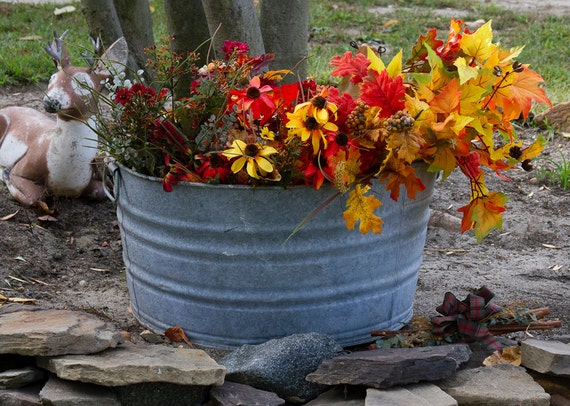 Reserved Galvanized Wash Tub Antique Wash Pot Round Galvanized