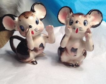 OH, MY! Mice Salt and Pepper Shakers - 1950s - Adorable Expressions - Each Shaker is Unique