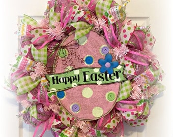 HAPPY EASTER Pink Green Metallic Deco MESH Ribbon Wreath ~~Ready to Ship~~