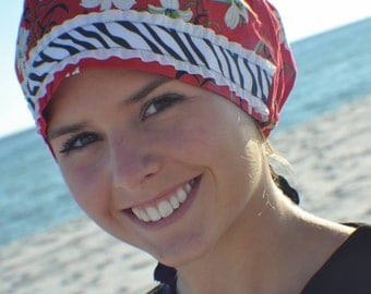 Beautiful True Red Scrub, Chef or Chemo Hat for Women with White Flowers and Fun Zebra Trim