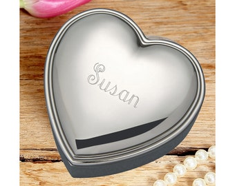 Heart Shaped Jewelry Box - Silver Plated Jewelry Box - Bridesmaids Gifts - Birthday Gift - Wedding Favors - Flower Girl Gift - Heart Box