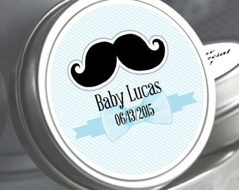 """12 Little Man's Black Mustache Baby Shower Mint Tins - Need a different quantity? Click on the """"choose total"""" tab to see all pricing"""