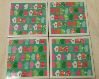 Winter Mittens Tile Coasters