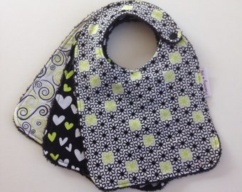 Lime Love / Baby Bibs / Drool Bib / Green / Bandana Bibs / Flowers / Black / Absorbent Bibs / Thick Bibs / Australian Made