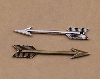 15PCS/Bulk 2 Colors Available, Antique  Arrow Charm Pendant --- Vintage Jewelry Supplies ---- 60mm*11mm BC55-7469