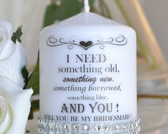 Will you be my Bridesmaid Maid of Honour candle, flower girl wedding flower
